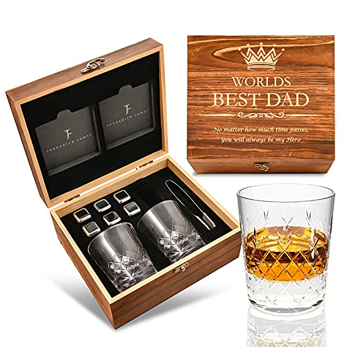 cheers to these bar gifts that will arrive before christmas Gifts for Dad from Daughter or Son - Engraved 'Worlds Best Dad. No Matter how much time passes'' Whiskey Glass Set I Dad Gifts from Daughter