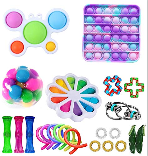 LAJIFENLEI Sensory Fidget Toys Pack Cheap Stress Anxiety Relief Toys Fidget Box Set with Pop Bubble Simple Dimple for ADHD Kids or Adults Hand Toys (C)