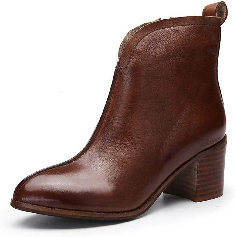 Fuxitoggo Gestapelte Ferse Stiefel Frauen Leder Block handgemachte Schuhe (Farbe   Braun, Gre   EU 36)