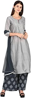 STOP by Shoppers Stop Womens Round Neck Slub Embroidered Palazzo Suit