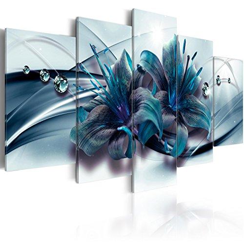 murando Acrylglasbild Blumen 200x100 cm 5 Teilig Wandbild auf Acryl Glas Bilder Kunstdruck Moderne Wanddekoration - Lilien Abstrakt Diamant blau b-C-0155-k-p