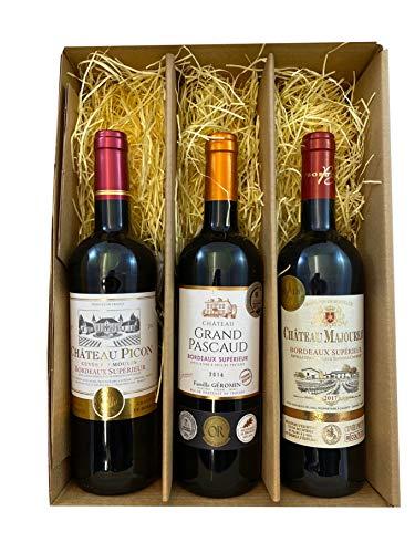 3er Geschenkset Bordeaux | 3 hochwertige französische Rotweine aus Bordeaux mit Goldmedaillen-Prämierung trocken