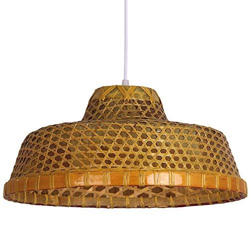 Americana de bambú tejido de la vendimia hecha a mano Lámparas pasadas de moda País rural granja pendientes de la Industrial Light restaurante Tea Room Box Inn Habitación pendientes de la lámpara