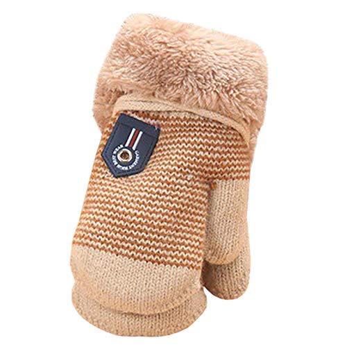 EZSTAX EZSTAX Unisex Jungen Mädchen Halbfinger Handschuhe fingerlose Handschuhe Fäugstlinge warme halbe Finger Strick Handschuhe mit Flip Top,Beige,6 Monaten-3 Jahren