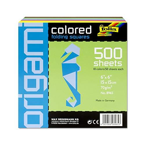 folia 8965 - Faltblätter eckig, 15 x 15 cm, 70 g/qm, 500 Blatt sortiert in 10 intensiven Farben - ideal zum Papierfalten und für andere kreative Bastelarbeiten