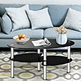 SSLine Oval Glass Top Coffee Tables for Living Room, Oval Glass End Table Coffee Tea Table Center Table with 2 Tier Tempered Glass Boards & Sturdy Chrome Stainless Steel Legs (Black)
