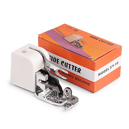 Phonleya Máquina de Coser con Cortador Lateral Pie Prensatelas de Acero Inoxidable Apto para Todas Las Máquinas de Coser de Vástago Bajo, Incluidas Singer/Brother/Babylock 2.8 * 1.1 * 1.6 (L * W * H)