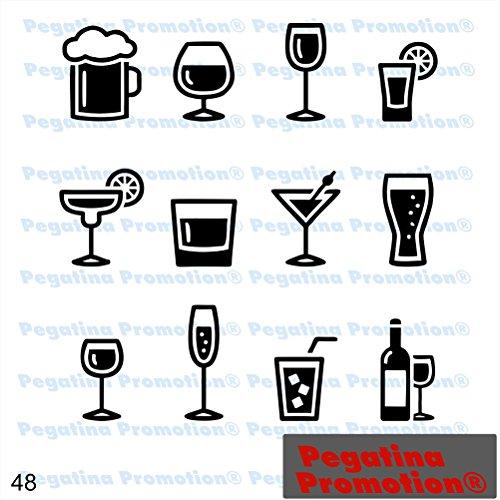 Piktogramm Typ 48 Icon Symbol Zeichen Cocktails Drinks alkoholische Getränke Bier Wein Spirituosen Bar 12 Stück Aufkleber ca.15cm von Pegatina Promotion® Aufkleber mit Verklebehilfe von Pegatina Promotion® ohne Hintergrund geplottet