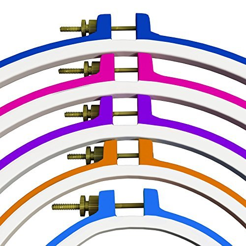 5 Piece Embroidery Hoops-Cross Stitch Hoop Ring - 5 Inch to 11 Inches - Various Colors and Size for All Needle Craft Needs-Durable Plastic Hoop Set-by HandiStitch