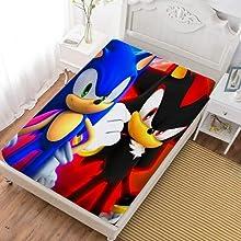 NFBZ Sonic - Sábana bajera ajustable con estampado 3D, antialérgica y antiácaros (Sonic #01,150 x 200 cm)