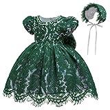 Gaga city Vestidos de Bebe Niña Bautizo Cumpleaños Boda Encaje Vestido Bebe Fiesta + Sombrero Traje de Ceremonia Vestido de Princesa con Lazos Verde/6M/66CM