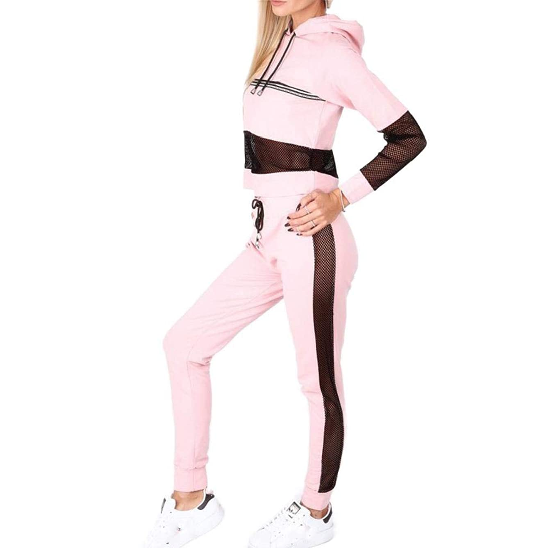 無起訴する眩惑するNicellyer Women 2pcs Sweatshirts Pants Hollow Out Hoode Tracksuit Jog Set