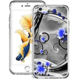 WINSHINE Funda para iPhone 6, iPhone 6S Carcasa Silicona Transparente Protector TPU Airbag Anti-Choque Ultra-Delgado Anti-arañazos Case para Teléfono Caso Caja - Vid Azul