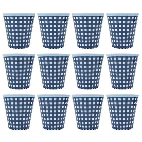 Taza de bebida-Taza de melamina-12 piezas Taza de agua Patrón de cuadrícula azul Taza de melamina Vasos para leche, té, café