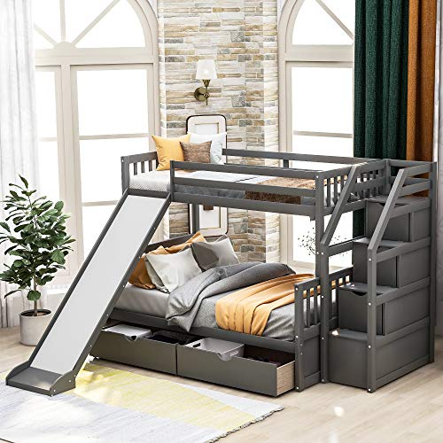 LUMISOL Twin Over Full Bunk Bed with Slide and 2 Drawers, Multifuction Kids Bunk Beds Frame with Staircases(Gray)
