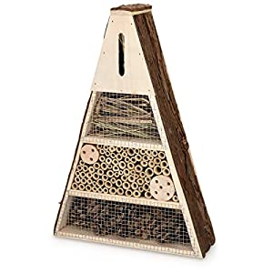 Navaris Wooden Insect Hotel - 28 x 8.5 x 40 cm - Natural Wood Insect House - Garden Shelter Bamboo Nesting Habitat for Bees, Butterflies, Ladybirds