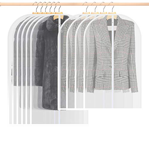 GDORUN 10Pcs Garment Bags for Clothes, Clothes Covers with Zip, Clear PEVA Breathable Moth Proof Garment Covers, 120cm *6 & 100cm*4