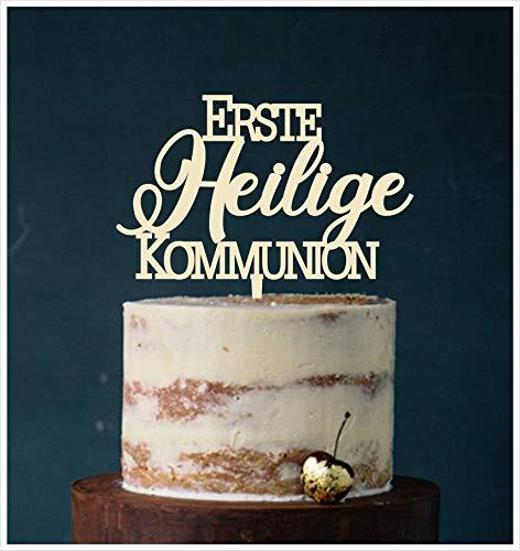 Manschin-Laserdesign Cake Topper Erste Heilige Kommunion,Tortenstecker, Tortenfigur Acryl, Hochzeit Wedding Hochzeitstorte (Elfenbein) Art.Nr. 5093