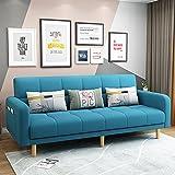 Sofa Cabrio Bett, Futon Couch Schlafsofas, Stoff Klappsofa, Wohnzimmer Loveseat Sitzmöbel Und Schlafsofa, Multifunktionale Ausziehbare Couch Möbel Für Wohnung,Light Blue,200CM