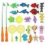 Gadpiparty 25 Piezas para Niños de Juguete de Pesca de Baño Conjunto de Juguetes Divertidos de Pesca de Bañera con Caña de Pescar de Juguete de...