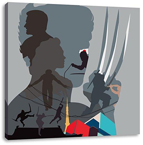 Wolverine, Format: 60x60 auf Leinwand, XXL riesige Bilder fertig gerahmt mit Keilrahmen, Kunstdruck auf Wandbild mit Rahmen, günstiger als Gemälde oder Ölbild, kein Poster oder Plakat