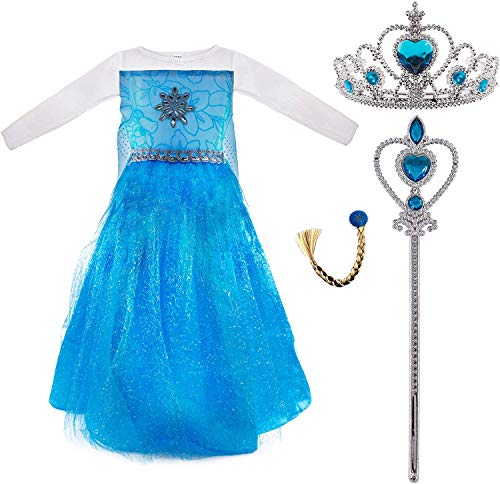 Déguisement de princesse Elsa pour filles, robe de Reine des neiges, accessoires diadème de couronne, tige de fée, tresse pour fête carnaval cosplay anniversaire (taille XL / 140 cm)