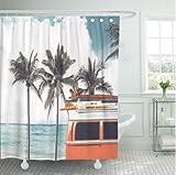 daimin PVC Vintage Car Beach Seaside Surfbrett Dach Freizeit Duschvorhang Wasserdichtes Polyestergewebe 180X200cm mit Haken