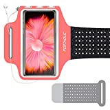 PORTHOLIC Schweißfest Sportarmband Handy Fitness für iPhone 11 Huawei P30 P20 Galaxy S20 S10, Schlüsselhalter, Kartensteckplatz, Kopfhörerloch, für Handy Bis zu 6,1 Zoll, für Joggen Radfahren Wandern