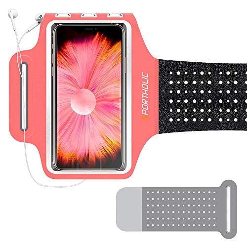 PORTHOLIC Sportarmband Handy für iPhone 12 11 Pro Max/X/8p/7p, Galaxy S20/10+/9+, Huawei P40/P30, Lycra Armband Schweißsichere Lauftasche für Jogging-Fitness, bis zu 6,7