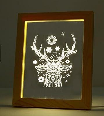 FL-715 3D Photo Frame Illuminative LED Night Light Wooden Christmas Deer Desktop Decorative USB Lamp For Bedroom Art Decor Christmas Gifts by Advanced