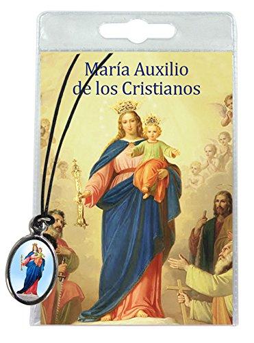 Medalla María Auxiliadora con cordón y oración en español