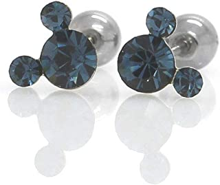 Michey mouse Cartilage studs Earrings Cubic zirconia studs Screw on back ball 20G Surgical steel with safety back ball