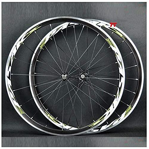 HJXX Juego de Ruedas de Bicicleta 700C, Ruedas de Bicicleta, Bicicleta de Carretera Rueda Delantera y Trasera, Cubo de cojinete Sellado de Freno de llanta CNC Casete de 7-11 velocidades 1650g