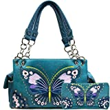 Justin West Peacock Butterfly Floral Embroidery Design Conceal Carry Women Handbags (Teal Handbag Wallet Set)