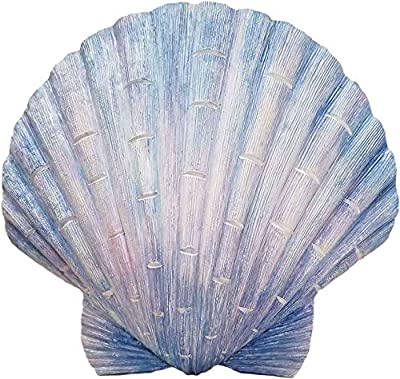 World of Wonders - Ocean Harmony Series - Captiva - Elegant Scallop Seashell Wall Sculpture Hand-Painted Easy Mount Beach House Shabby Chic Sea Life Marine Nautical Home Decor Accent, 8.5-inch
