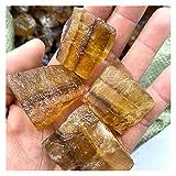 YSJJDRT Cristallo Naturale Grezzo natürliche Smoky Kristall Quarz Stein Grobe Sonda Mineral Hause Dekoration Oder Dekoration Von Garten Aquarium (Farbe : Yellow Fluorite, Größe : 35-40g (1pack))