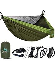 Camping hangmat 250 kg draagvermogen, met muggennet, hangmat, 290 x 140 cm, ademend, sneldrogend, ultralicht, reishammock outdoor draagtas voor terras, binnenplaats, tuin, strand (groen)
