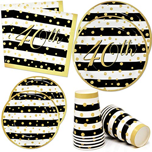 40th Birthday Plates and Napkins Set Party Supplies Tableware 24 9' Paper Dinner Plates 24 7' Dessert Plate 24 9 Oz. Cups 50 Lunch Napkins Forty Happy Party Favors Fortieth Anniversary Celebration