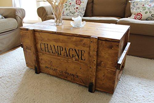 Uncle Joe´s Truhe Champagne Couchtisch Truhentisch im Vintage Shabby chic Style aus Massiv-Holz in braun mit Stauraum und Deckel Holzkiste Beistelltisch Landhaus Wohnzimmertisch Holztisch nussbaum
