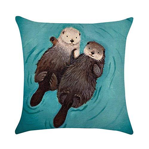 FeiliandaJJ Pillowcase, Kissenbezug kissenhülle Kopfkissenbezug Weihnachten Dekoration Cute Otter Drucken Super weich Sofakissen für Wohnzimmer Sofa Bed Home,45x45cm (A)