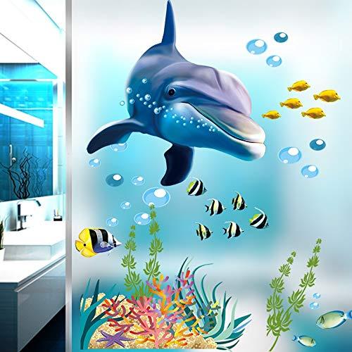 WLYUE Muurstickers, Cartoon Onderwater Wereld Dolfijnen Dieren Muursticker Kinderkamers Decals Slaapkamer Kwekerij Glas Windows Home Decor Stickers