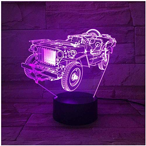 Nachtlicht Jeep 3D Nachtlicht Nachtlicht 7 Farben Acryl Led Tischlampe Usb Licht Schlafzimmer Als Geschenk Für Die Dekoration-Touch + Remote Control