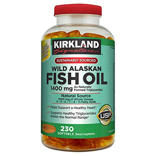 Kirkland Signature Expect More Wild Alaskan Fish Oil 1400 mg 230 Softgels
