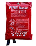 ASPIRE UK 1m x 1m Soft Case Fire Blanket, Large, Quick Unfolding, with Loops