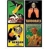 Nacnic Posters Vintage. Set de Cuatro láminas con anuncios Antiguos. Cartel Vintage de Tabaco y vermut. Tamaño A4