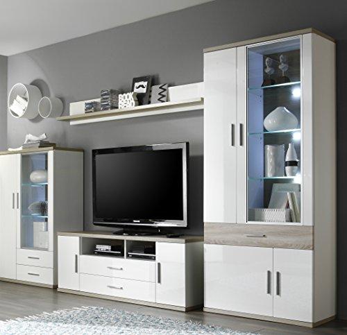 trendteam AA31241 TV Möbel Lowboard weiss Hochglanz, Absetzungen Eiche sägerau hell, BxHxT 150x55x47 cm - 3