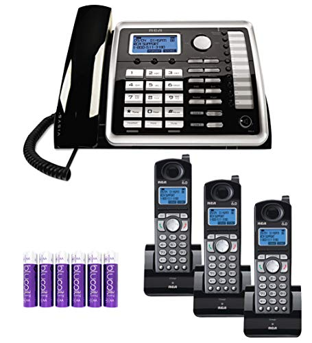 RCA 25260 2-Line Phone Base Station with Full Duplex Speakerphone and Intercom Bundle with 3-Pack of 25055RE1 DECT 6.0 Cordless Accessory Handsets, and Blucoil 6 AA Batteries