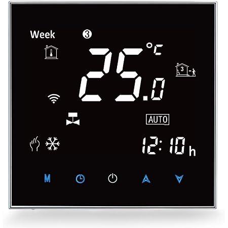 Termostato Smart Wifi Compatible con Alexa Google Home - Termostato inteligente Inalámbricos Programable para Caldera de Gas Calefacción, Digital Controlador de Temperatura,3A
