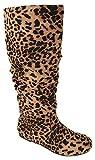 Soda Shoes Women Flat Slouchy Basic Knee High Boots Slip on Flat Heel Zuluu-S Cheetah Leopard Print 10