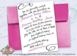 10 Hot Pink and Black Swirly Curly Font 5x7 Basic Simple Wedding Invitations